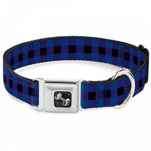"Buckle-Down Seatbelt Dog Collar Buffalo Plaid Black/Blue 1.5"" Wide Fits 13-18"" Neck Small"