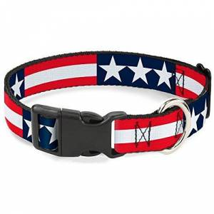 """Buckle-Down 18-32"""" Stars & Stripes Blue/White/Red/White Plastic Clip Collar, Wide Large"""