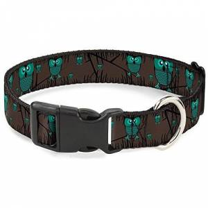 """Buckle-Down 13-18"""" Owls In Trees Turquoise Plastic Clip Collar, Wide Small"""