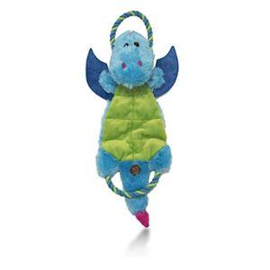 Charming Pet Magic Mats Dragón Durable y chirriante Tug-O-War Perro Juguete con 7 chirriadores, Azul