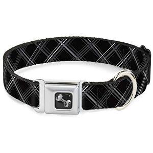 "Buckle-Down Seatbelt Dog Collar Plaid X Black/Gray 1.5"" Wide Fits 16-23"" Neck Medium"