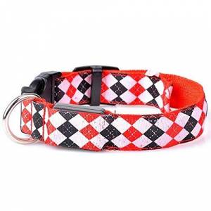 ZYYC Nylon LED Collar de Perro para Mascotas Seguridad Nocturna Parpadeante Que Brilla en la Oscuridad Correa para Perros Collares de Rayas Fluorescentes Luminosas para Perros-Red_S