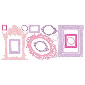 RoomMates RMK2043GM calcomanías gigantes para pared con marcos rosa y morado para despegar y pegar