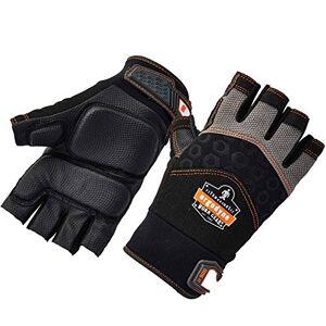 Ergodyne ProFlex 900 Guantes de trabajo de protección contra impactos, palma acolchada, mitad dedos, 2XL, color negro