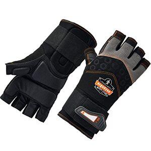 Ergodyne ProFlex 910 Guantes de trabajo con protección contra impactos, palma acolchada, media dedo, soporte de muñeca, pequeño