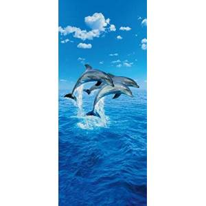 Ideal Decor Komar DM599  Three Dolphins 2-Panel Wall Mural