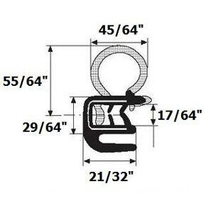 Seal Rubber Burlete para puerta con brida internos de goma 45/162,6cm foco de diámetro x 0,1cm -17/162,6cm Grip Range X 21/81,3cm U Altura. (por pie)