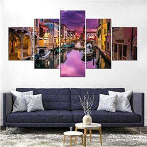wuyyii Cuadros De Lienzo Decoración Del Hogar 5 Paneles Canal De Venecia Italia Cartel Hd Impresiones Pinturas Arte De Pared Modular Para Sala De Estar Enmarcado C-30X40Cmx2/30X60Cmx2/30X80Cmx1