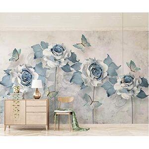 TMwallpaper Flor Tridimensional Elegante Mariposa Azul Claro
