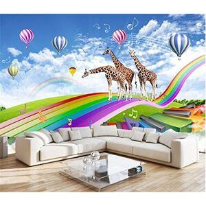 MBWLKJ Moderno Personalizado Foto 3D Papel Tapiz No Tejidas Habitación Niños Jirafa Fantasía Hongqiao De Color 3D Tv Fondo Papel Tapiz Mural-200Cmx140Cm