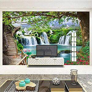 jbekjg 3D Mural Peelable Custom Any Size Mural Wallpaper Modern 3D Green Tree Waterfalls Landscape Murals Living Room Bedroom Adhesive 3D Stickers-200X130Cm