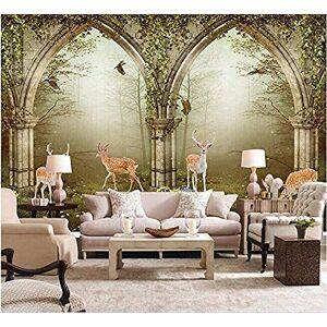 FSKJBZ 3D Large Wallpaper Mural Hd Arches Deer Green Fantasy World Backdrop Custom Photo Wallpaper @ 250cmx175cm