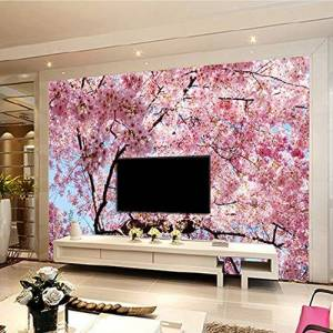 Meaosy Personalizado De Cualquier Tamaño 3D Mural De Pared Romántico Hermoso Cherry Blossom Paisaje Mural Fotográfico Wallpaper Salón Restaurante 3D Decoración
