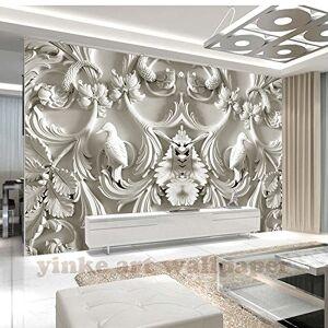 BZDHWWH Custom Wall Mural Arte Clásico Pintura De Pared Blanco Europa 3D Stereo Relief Photo Wallpaper Sala De Estar Papel De Parede,160cm (H) x 240cm (W)