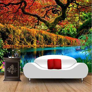 ponana Custom 3D Mural Wallpaper Maple Forest Pond Paisaje Sala De Estar Tv Fondo Pintura De Pared Ecológico Fresco A Prueba De Humedad-280X200Cm