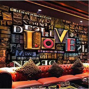 MBWLKJ Papel Tapiz Papel De Pared Estereoscópico 3D En Relieve Moda Creativa Letras Inglesas Amor Restaurante Cafe Fondo Mural Decoración-350Cmx245Cm
