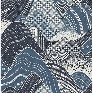 A-Street Prints 2764-24333 Meru Navy Mountain Papel pintado