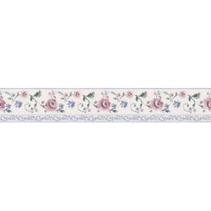Brewster Border and More Borde de pared de rosas rosas, 3,625 pulgadas por 180 pulgadas, Border Height: 3 5/8 inches, Blanco