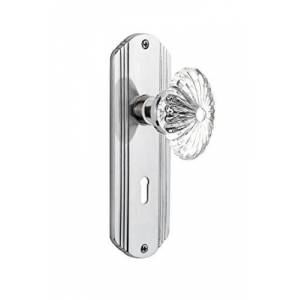 """Nostalgic Warehouse Deco Plate with Keyhole Oval Fluted Crystal Glass Knob, Privacy 2.375"""", Bright Chrome"""
