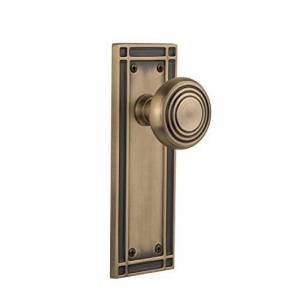 Nostalgic Warehouse 709236 Mission Plate Passage Deco Door Knob In Antique Brass,