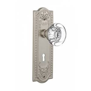 """Nostalgic Warehouse Meadows Plate with Keyhole Round Clear Crystal Glass Knob, Passage 2.375"""", Satin Nickel"""