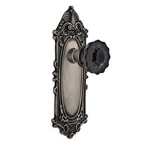 Nostalgic Warehouse Nostálgico Warehouse 727329Plato vidrio Negro Vidrio Tirador de puerta de privacidad en peltre envejecido, Victoriana, Privacidad-2.375
