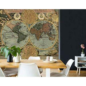 YCRY Fotomurales Murales moderna de Diseno Muro del mapa mundial del hemisferio 3D- Decoración de Pared decorativos 280x200cm