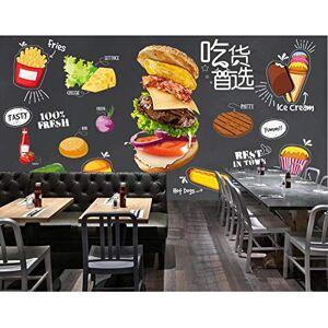 Afashiony Papel tapiz fotográfico mural de sala de estar de alta calidad Moderno Decoración de la pared Póster Fondo de pantalla 3D Hamburguesa Pizza Papas Fritas Cola papel de pared-200cmx140cm