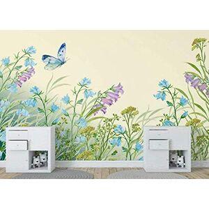 Luodeng., Papel pintado 3D pintado a mano floral verde mariposa fresca papel de pared moderno para sala de estar dormitorio TV decoración de pared-300 cm x 210 cm