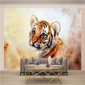 NO co.,ltd. Wallpaper Photo 3D Pequeño tigre Tv Background Modern Mural Wallpaper Living Room Bedroom Wall Decoración Para El Hogar Art-200X140cm(78 * 55 pulgada)