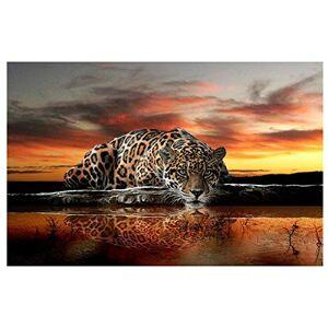 Orsit Diamante Pintura Art Set DIY Punto de Cruz Digital Set DIY Arte Craft Decoración de la pared, leopardo (30X45cm / 12X18 pulgadas)