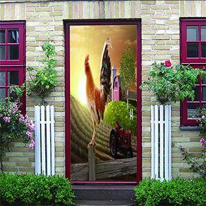 """Afashiony Etiqueta De La Puerta 3D Puerta Interior Pared Arte Extraíble Autoadhesivo Puerta Mural Sala De Estar Dormitorio Baño Decoración Del Hogar Fondo De Gallo Animal-34.6""""X 78.7"""