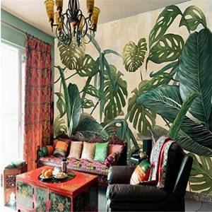 ponana Grandes Fondos De Pantalla Fresco Retro Tropical Rainforest Animals Palm Leaves Living Room Tv Fondo Paredes-150X120Cm