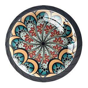 Lyetny Mandala Floral Patrón Rectangular Multicolor Adorno de 4 piezas perilla Tirador de Cajón Tirador de clóset Pomos con Tornillos para el Hogar Oficina Aparador Muebles de clóset Asas, 3.5×2.8CM/1.38×1.10IN, estilo 07
