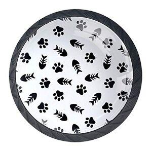 LLNSUPPLY Tiradores circulares para puerta de clóset, cajón, clóset, decoración para el hogar, bricolaje con espiga y huella de animal, 4 piezas