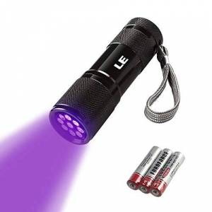 Lighting EVER LE Small UV Blacklight Flashlight, Portable Black Light with 9 LEDs, 395nm, Ultraviolet Light Detector for Invisible Ink Pens, Dog Cat Pet Urine Stain, AAA Batteries Included