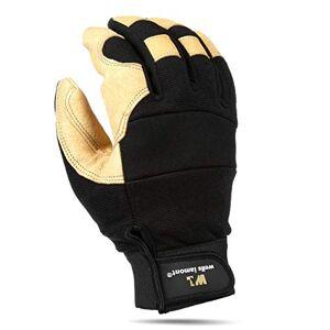 Wells Lamont guantes de trabajo con grano piel de cerdo, parte trasera de Spandex, Hook & Loop cierre de muñeca