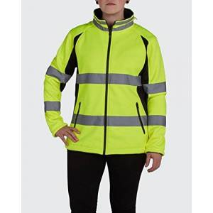 Old Toledo Brands Utility Pro UHV668 Polyester High-Vis Ladies Full-Zip Soft Shell Jacket with Dupont Teflon fabric protector, Yellow, Large