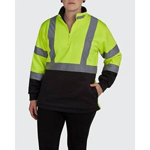 Utility Pro UHV667 Polyester High-Vis Ladies 1/4 Zip Soft Shell Jacket with Dupont Teflon fabric protector, Yellow/Black, X-Large