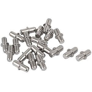 uxcell a16010500ux0058 Pinzas de metal para estante de muebles (20 unidades, 5 mm), color plateado
