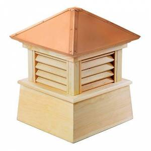 """Good Directions Manchester Louvered Cupola with Pure Copper Roof, Cypress Wood, 22"""" x 27"""", Quick Ship, Reinforced Rafters and Louvers, Cupolas"""