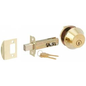 Weslock 00371-B-3SL23 Round Single Cylinder Deadbolt, Polished Brass