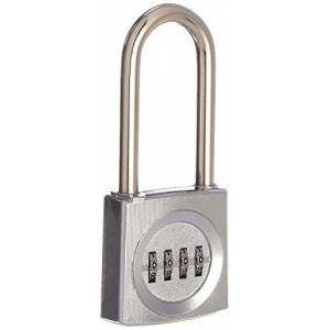 Sesamee K2621PC 4 Dial Front Faced Resettable Combination Padlock with 2.5 Inch Hardened Steel Shackle and 10,000 Potential Combinations,Polished Chrome