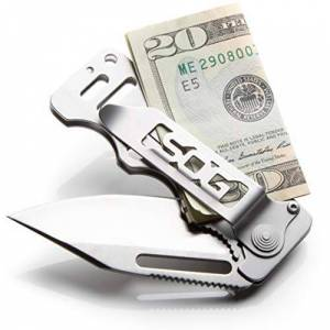SOG Specialty Knives and Tools EZ1-CP Cash Card with Straight Edge and Clip Point, Satin Polished