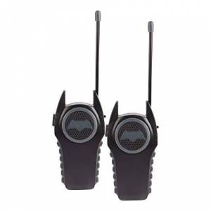 Warner Bros Batman 12383 Molded Walkie Talkies para niños antena de seguridad flexible y código morse con interruptor de encendido/apagado, transmisión de alta calidad, aspecto elegante, encantador y de moda, 2 piezas, color negro