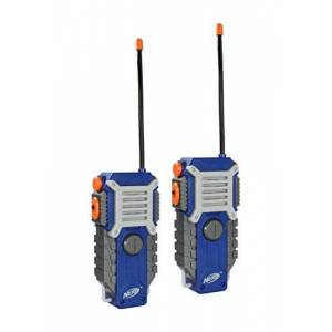 Nerf Walkie Talkie for Kids Fun at The Touch of a Button, Set of 2, 1000 Feet Range by Sakar, Rugged Pair Battery Powered Gray Blue & Orange
