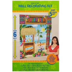 "amscan Sun-Sational Summer Luau Tropical Tiki Scene Setters Decoration, 50 Pieces, Made from Vinyl, Multicolor, 2 Plastic Pieces, 32 1/2"" x 59"