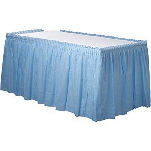 Amscan Falda de Mesa desechable de plástico Plisado para Fiestas en Color sólido, Azul Pastel, 1 Pieza