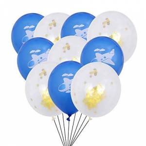 STOBOK 10Pcs Globos Avión de Dibujos Animados Nube de Lentejuelas Globos de Látex Set Suministros para Fiesta 12 Pulgadas (Azul Oscuro y Lentejuelas Doradas)