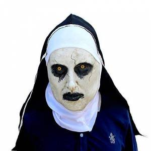 MISWSU Cosplay máscara látex Cara Casco decoración Tema Fiesta Accesorios Halloween Disfraz Accesorio Adulto para terrorista Monja (Negro, M)